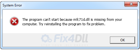 mfc71d.dll missing