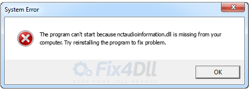 nctaudioinformation.dll missing